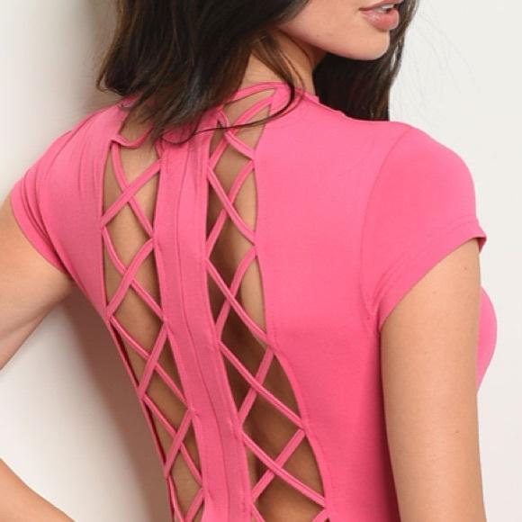 Fuchsia mock neck lace-up back bodycon mini dress
